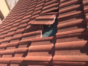池田市で屋根の応急処置 作業前